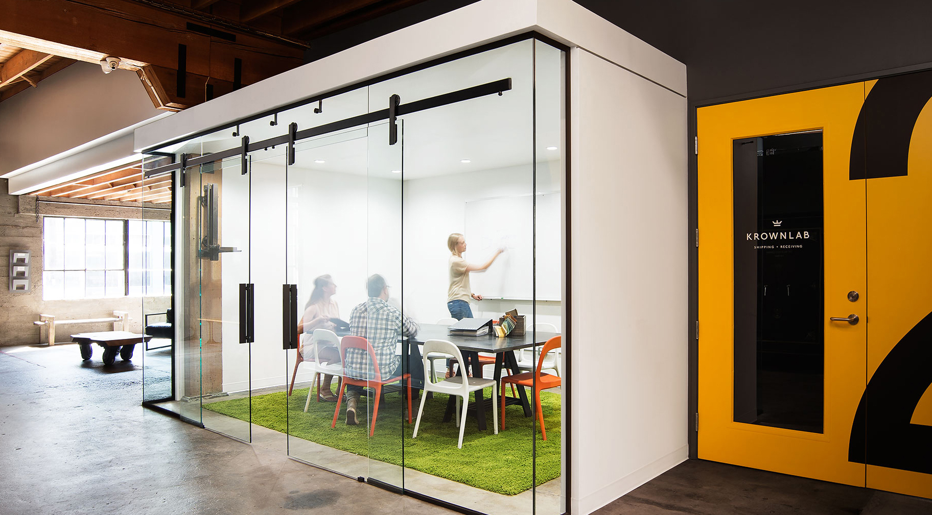 Making A Modern Office With Sliding Door Hardware For Glass