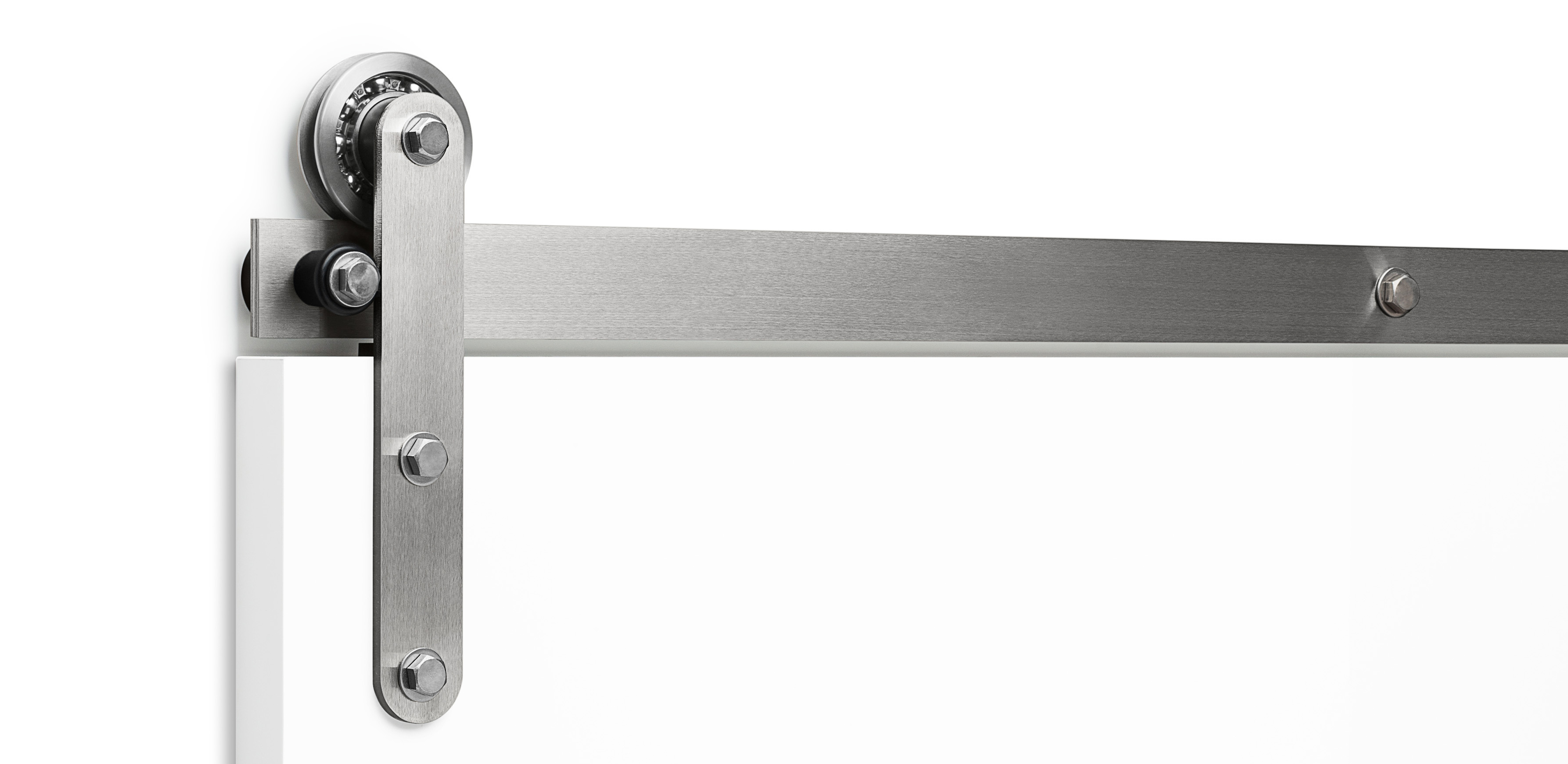 Flat track modern barn door hardware axel by krownlab for Hardware for sliding barn doors flat track