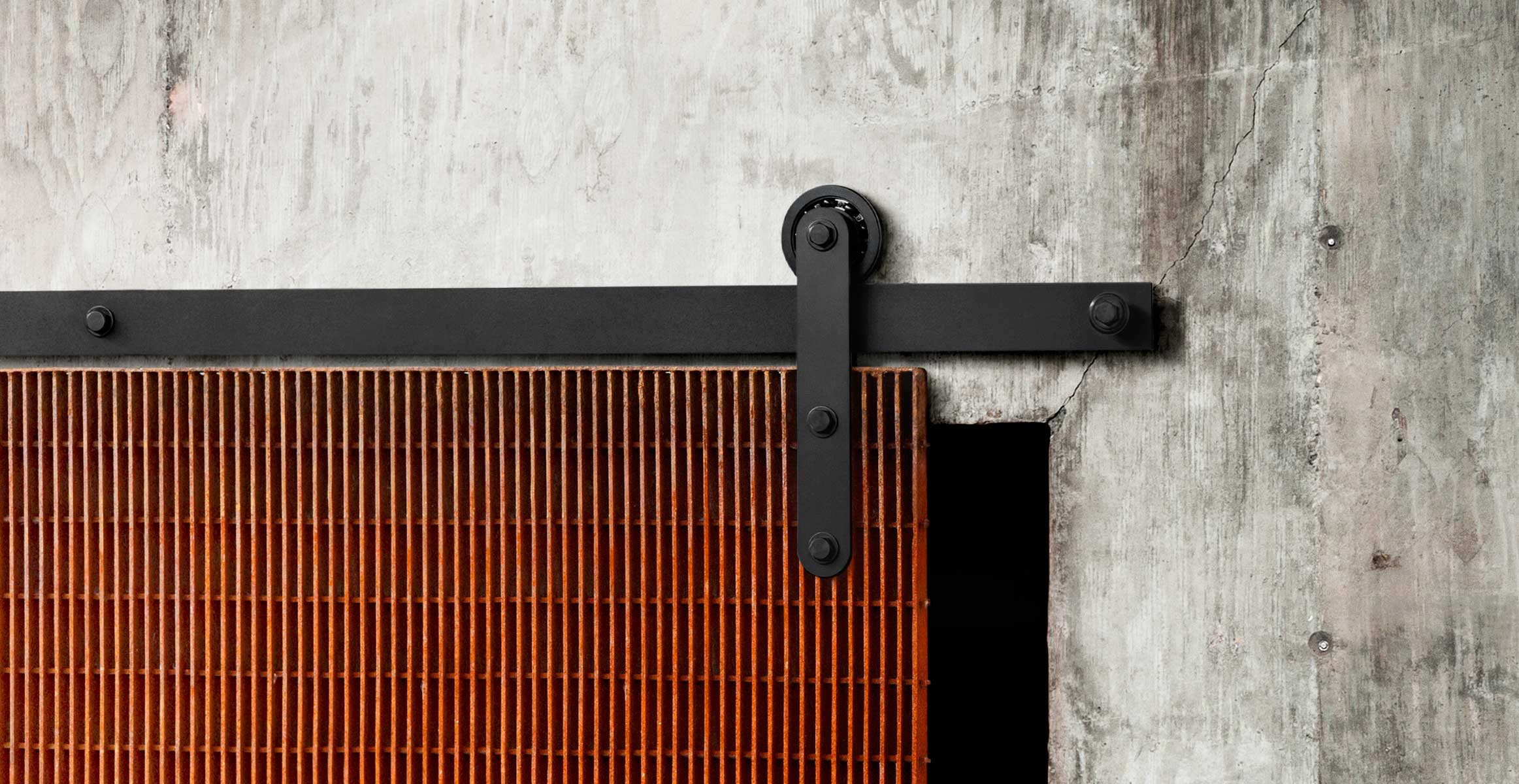 Flat Track Modern Barn Door Hardware Axel By Krownlab