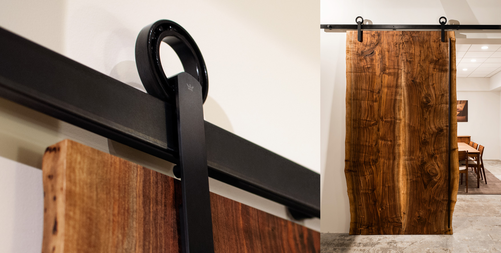 The Baldur sliding door hardware system paired with a live-edge sliding door panel.