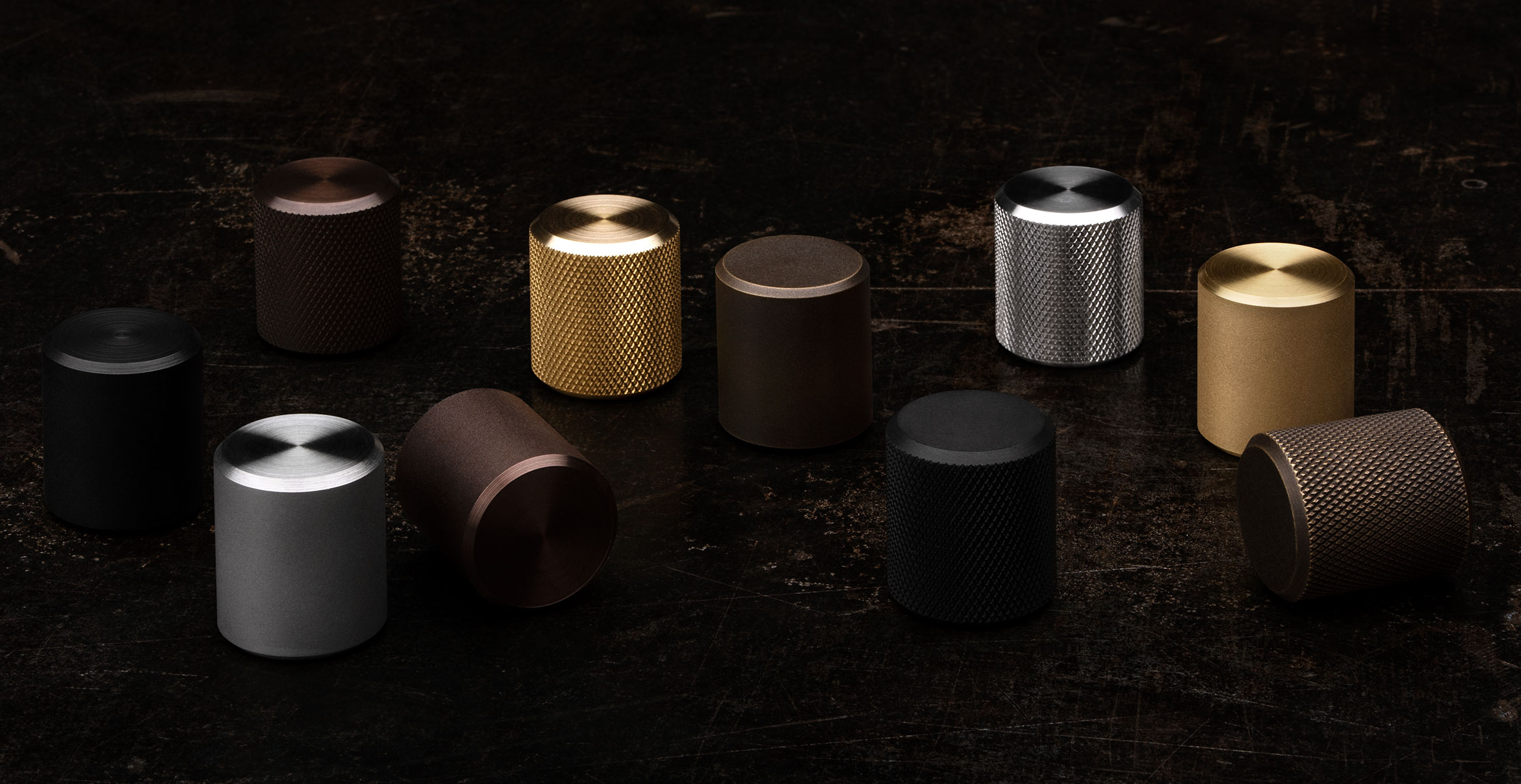 Kor Cabinet Knobs in Black Stainless, Stainless Steel, Oil Rubbed Bronze and Brass