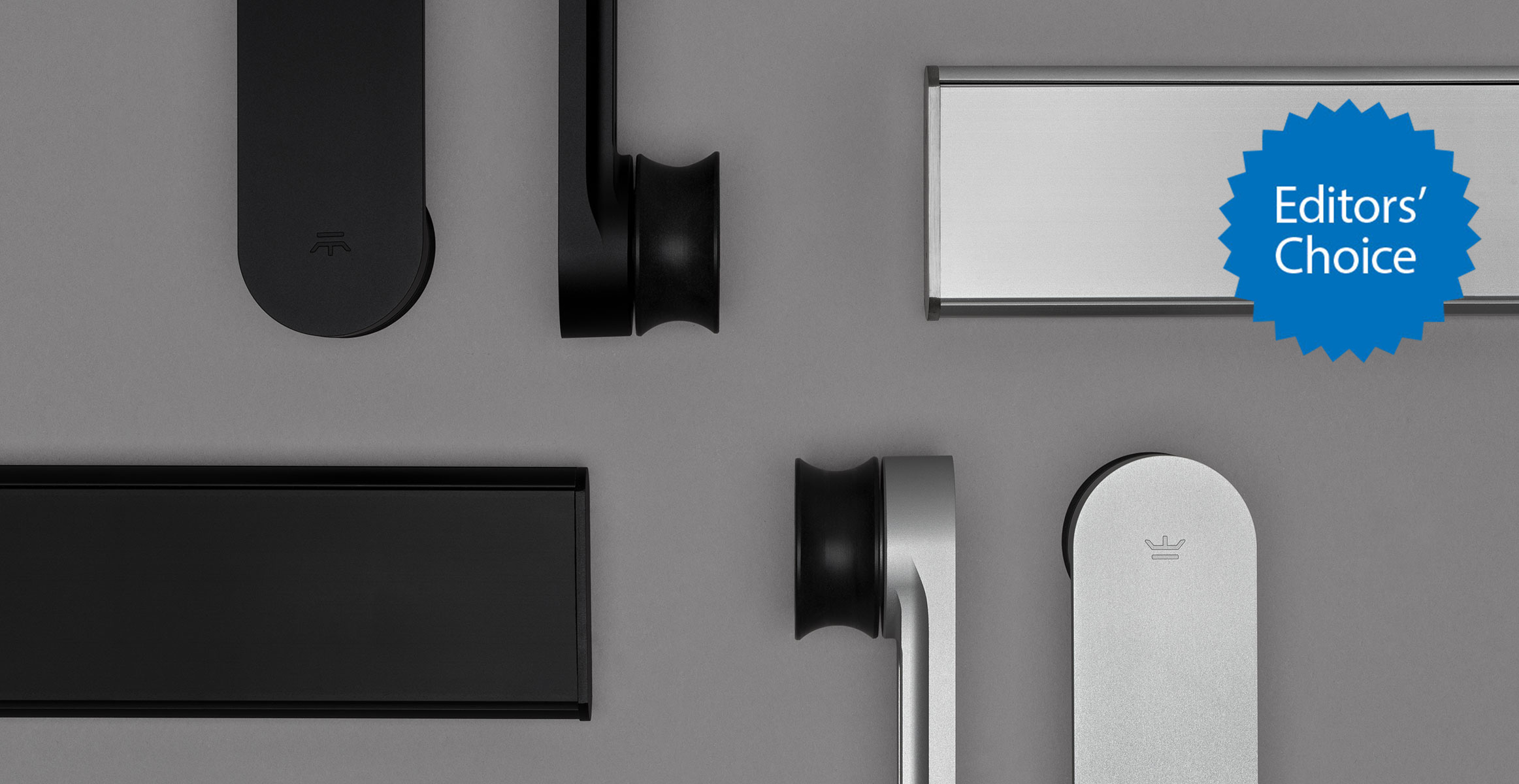 Loki sliding door hardware in black background