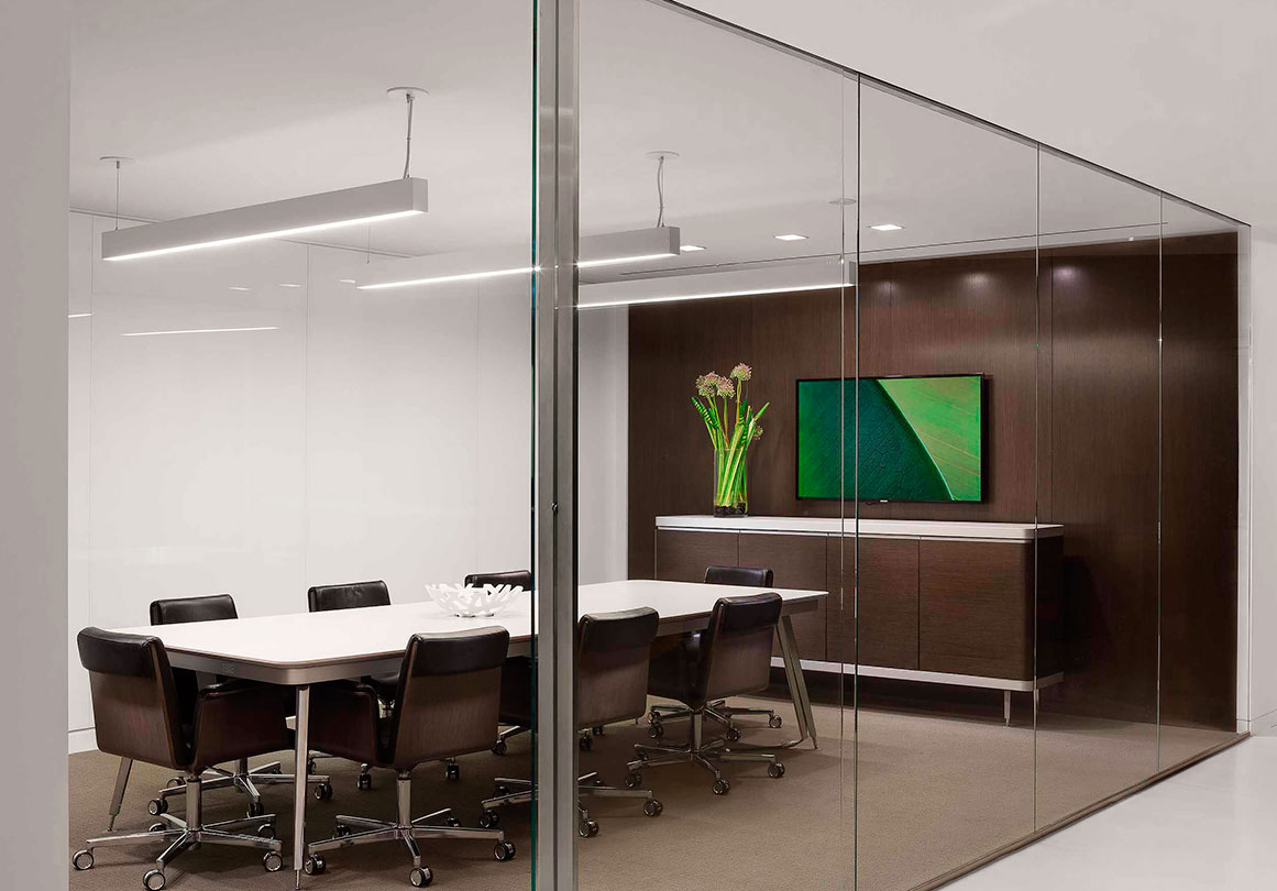 Glass curtain wall conference room