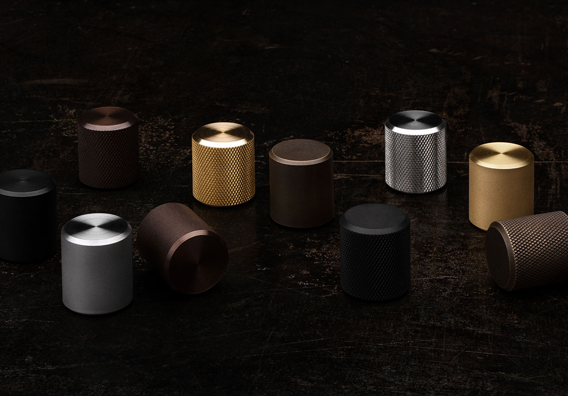 Kor Cabinet Knob in Knurled and Satin texture and in 4 different finishes.