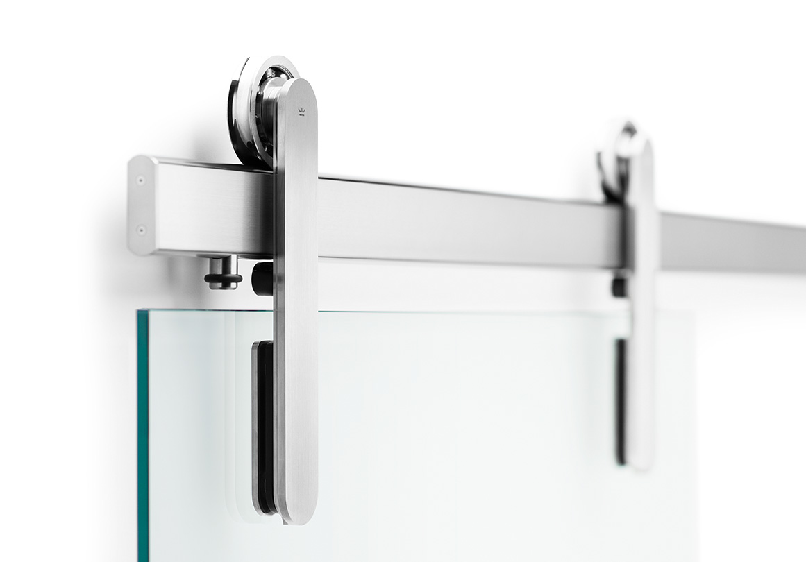 Oden sliding door hardware in Brushed Stainless Glass Mount