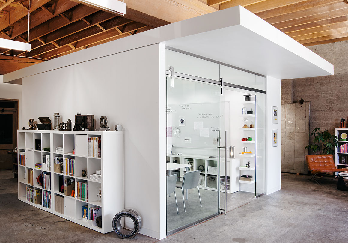 Glass-walled office