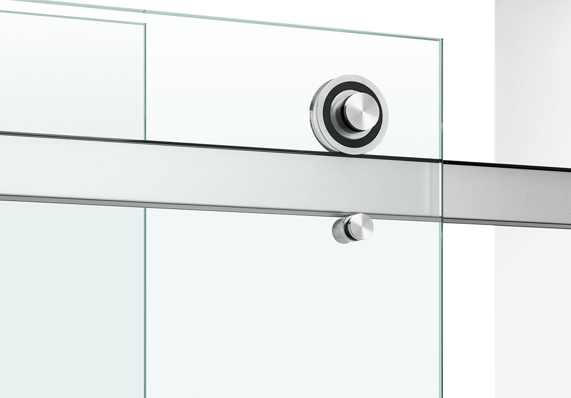 Rorik sliding shower hardware system in Brushed Stainless finish.